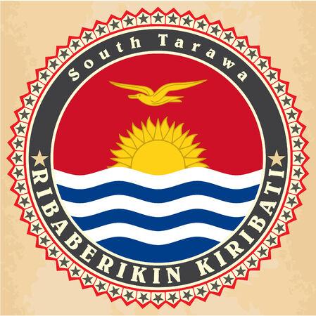 kiribati: Vintage label cards of Kiribati flag. Vector illustration