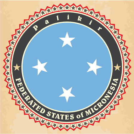 micronesia: Vintage label cards of Federated States of Micronesia flag. Vector illustration
