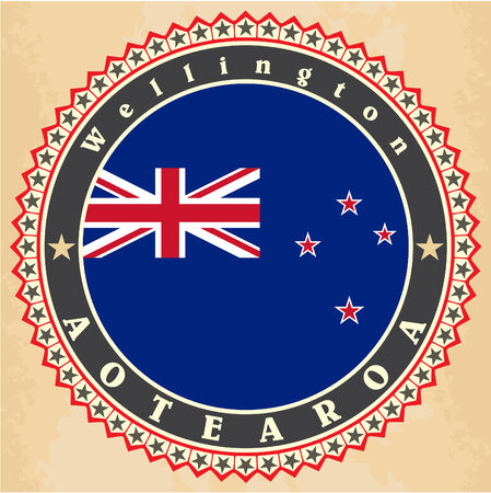 Vintage label cards of New Zealand flag. Vector illustration Vector