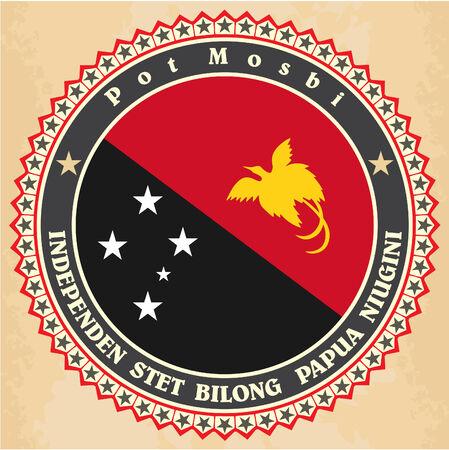 papouasie: Cartes d'�tiquettes de cru de drapeau Papouasie-Nouvelle-Guin�e. Vector illustration Illustration