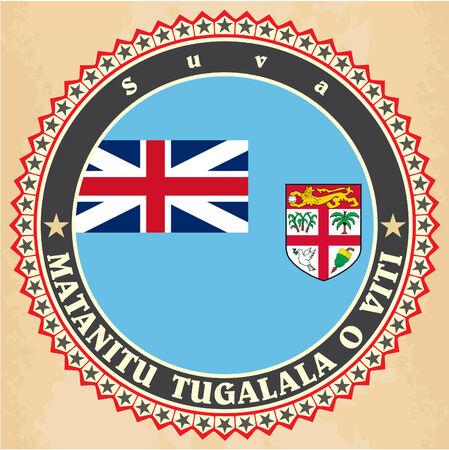 fiji: Vintage label cards of Fiji flag. Vector illustration