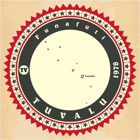 tuvalu: Vintage label-sticker cards of Tuvalu. Vector illustration