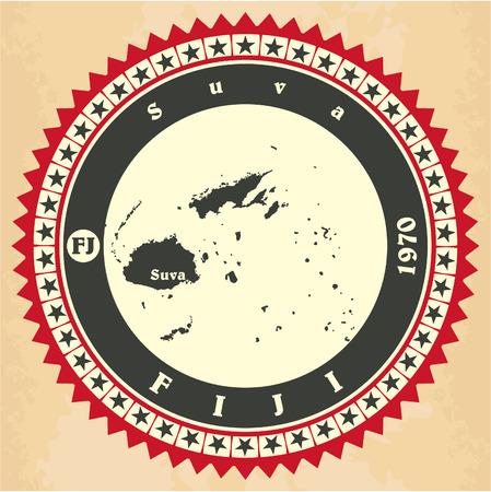 fiji: Vintage label-stickerkaarten van Fiji. Vector illustratie