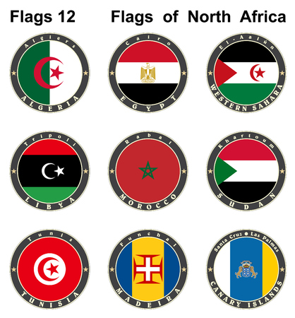 World flags. North Africa. Vector illustration Vector