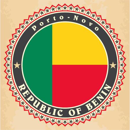 Vintage label cards of Benin flag. Vector illustration