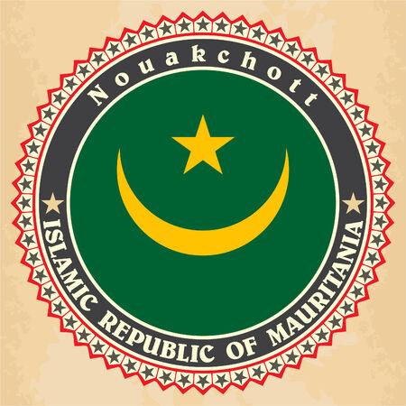 Vintage label cards of Mauritania flag. Vector illustration Vector