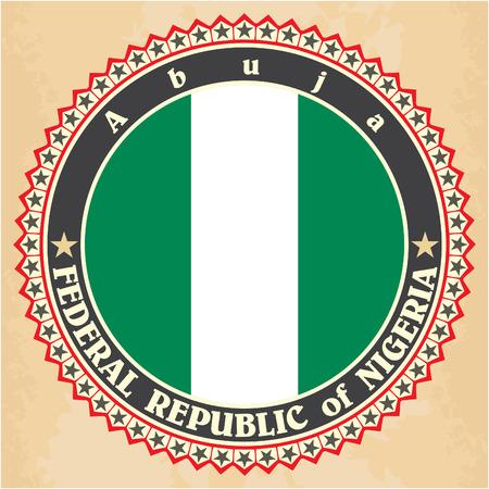 Vintage label cards of Nigeria flag. Vector illustration Vector