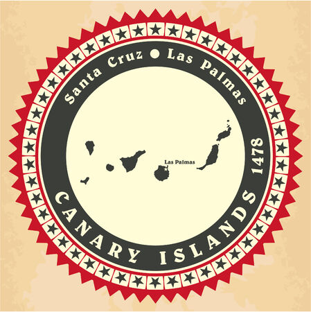 Vintage label-sticker cards of Canary Islands. Vector illustration Vector