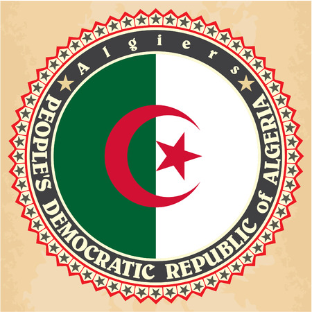 Vintage label cards of Algeria flag. Vector illustration Vector