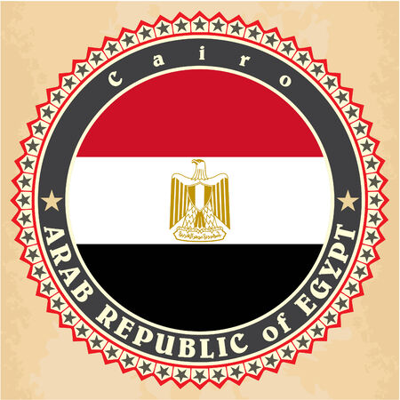Vintage label cards of Egypt flag. Vector illustration Vector