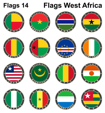 World flags. Western Africa. Vector illustration Vector