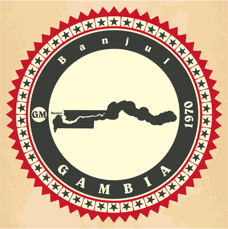 Vintage label-sticker cards of Gambia. Vector illustration Vector