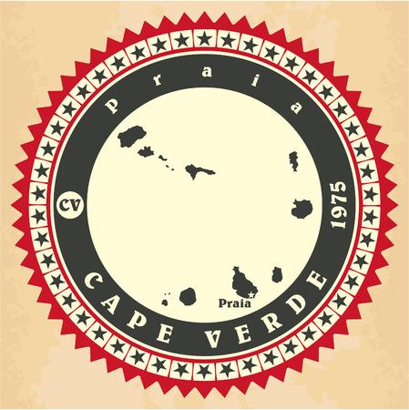 Vintage label-sticker cards of Cape Verde. Vector illustration Vector