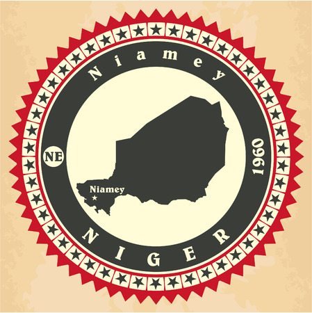 Vintage label-sticker cards of Niger. Vector illustration Vector