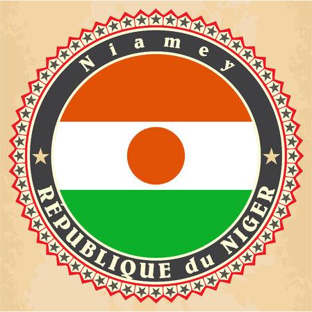Vintage label cards of Niger flag. Vector illustration Vector