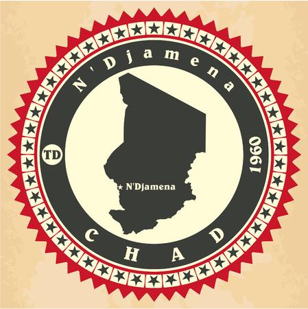 chad: Vintage label-sticker cards of Chad.  Illustration