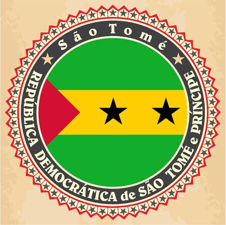 principe: Tarjetas de marca Antiguas de Santo Tomé y Príncipe bandera.