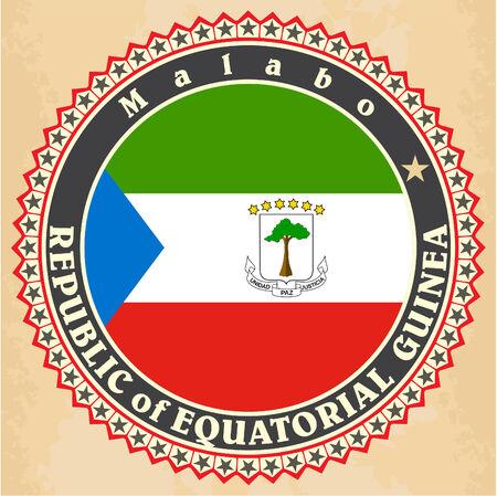 Vintage label cards of  Equatorial Guinea flag.  Vector