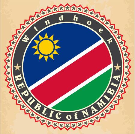 Vintage label cards of  Namibia  flag. Vector