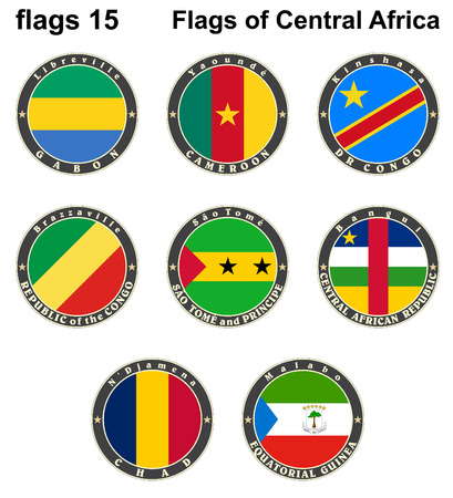 World flags. Central Africa.  Vector