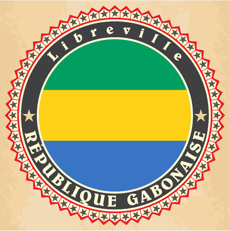 gabon: Vintage label cards of Gabon flag.  Illustration