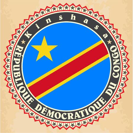 Vintage label cards of Democratic Republic of the Congo flag.  Vector