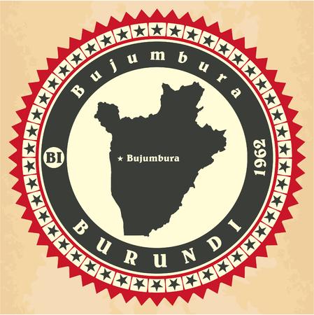 bujumbura: Vintage label-sticker cards of Burundi.