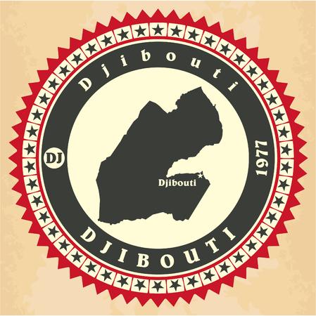 Vintage label-sticker cards of Djibouti. Vector