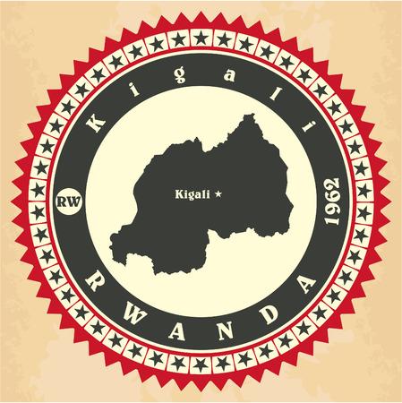 kigali: Vintage label-sticker cards of Rwanda. Illustration