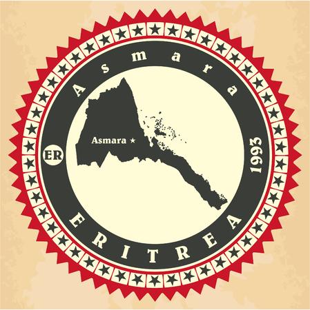 eritrea: Vintage label-sticker cards of Eritrea.