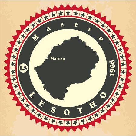 lesotho: Vintage label-sticker cards of Lesotho. Illustration