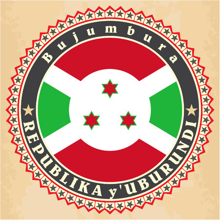 burundi: Vintage label cards of  Burundi flag. Illustration