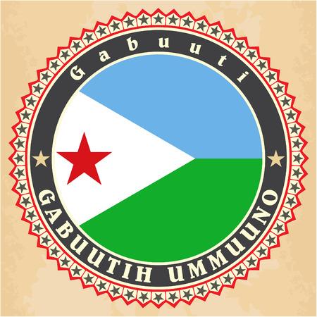 Vintage label cards of  Djibouti flag.