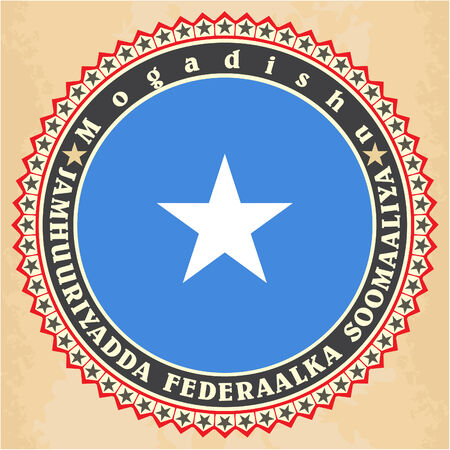 Vintage label cards of  Somalia flag.