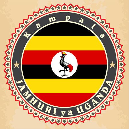 uganda: Vintage label cards of  Uganda flag.