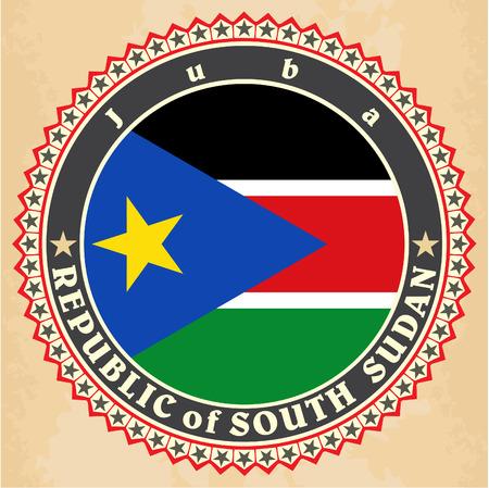 south sudan: Vintage label cards of  South Sudan flag.