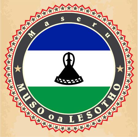 Vintage label cards of  Lesotho  flag.  Vector