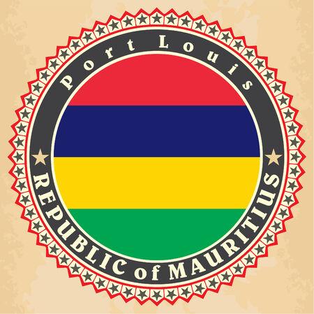 mauritius: Vintage label cards of  Mauritius  flag.  Illustration