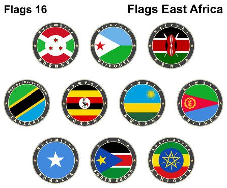 World flags. East Africa.  Vector