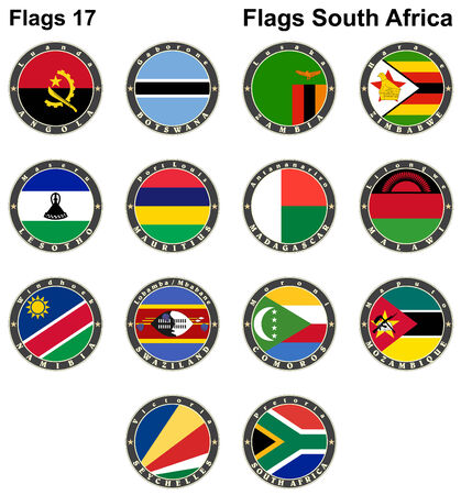 World flags. South Africa.  Vector