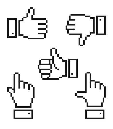 Set of pixelated hand icons Stock Vector - 29648756