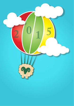 asian family fun: Hot air balloon in the sky and Happy New Year Sheep 2015 design card. Vector illustration eps10