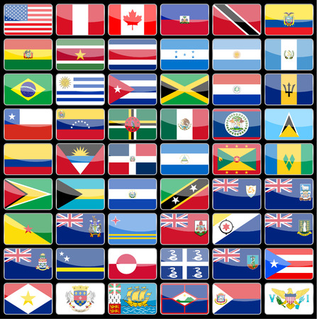 Elements of design icons flags of the continent of America. Vector