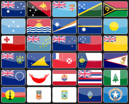 oceania: Elements design icons flags of the countries of Australia and Oceania. Vector illustration