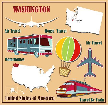 Mappa Appartamento di Washington negli Stati Uniti per viaggi aerei in auto e in treno. Illustrazione vettoriale
