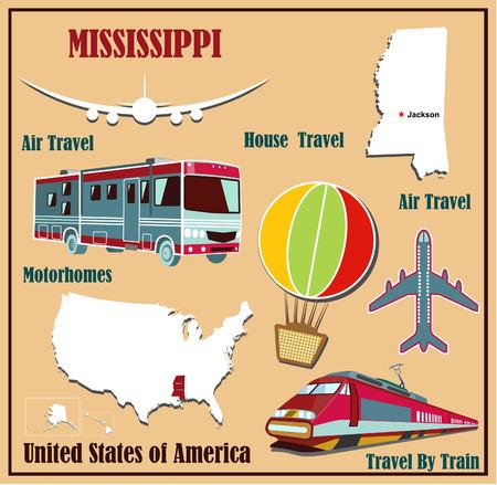 Mappa Appartamento di Mississippi negli Stati Uniti per viaggi aerei in auto e in treno. Illustrazione vettoriale
