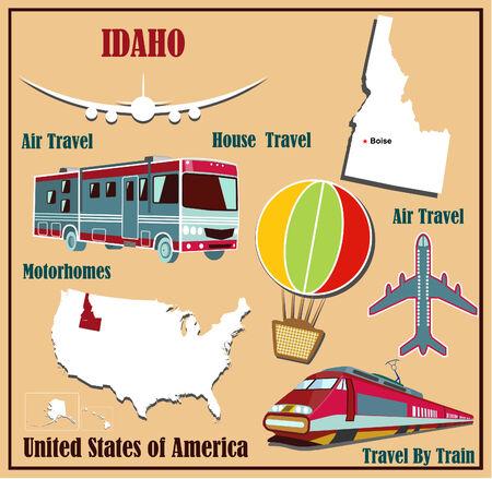 Mappa Appartamento di Idaho negli Stati Uniti per viaggi aerei in auto e in treno. Illustrazione vettoriale