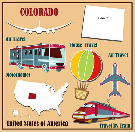 Mappa Appartamento di Colorado negli Stati Uniti per viaggi aerei in auto e in treno. Illustrazione vettoriale
