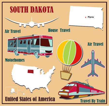 Mappa appartamento di South Dakota negli Stati Uniti per viaggi aerei in auto e in treno. Illustrazione vettoriale