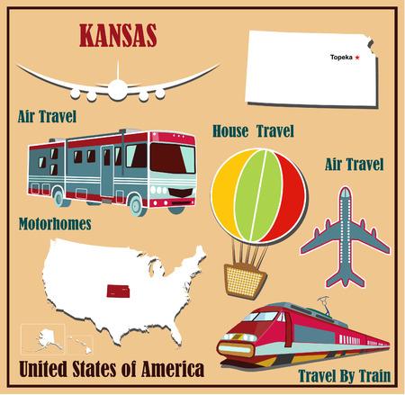 Mappa Appartamento del Kansas negli Stati Uniti per viaggi aerei in auto e in treno. Illustrazione vettoriale